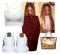 """""""-Soon as a mug ha she like girl I love yo loose curls✨"""" by littkitt ❤ liked on Polyvore featuring LE3NO, WithChic, adidas and Chanel"""
