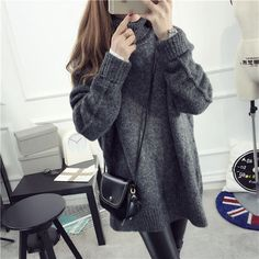 FR Oversized Turtleneck Sweater | YESSTYLE