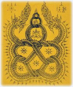 Pha Yant Nak Giaw Maha Amnaj - Entwined Nagas 74 x 53 Cm Giant Size Buddha Yantra Cloth - Taep Nimit Edition 2555 BE - Luang Por Sakorn - Wat Nong Grub | $64.99