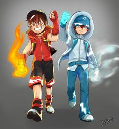 Blaze and Ice~ Fiyah and wotah~ Red and blue~ I love both of you!~ (C)Yukiredmix on FB Galaxy Movie, Anime Galaxy, Boboiboy Galaxy, Boboiboy Anime, Anime Guys, Captain America Wallpaper, Doraemon Wallpapers, Mobile Legend Wallpaper, Blue Wallpapers