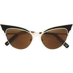 Dsquared2 'Lollo' cat eye sunglasses ($355) ❤ liked on Polyvore featuring accessories, eyewear, sunglasses, black, cateye sunglasses, dsquared2 glasses, dsquared2 eyewear, cat-eye glasses and logo sunglasses