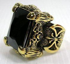 Men's Brass Ring, Gothic Ring, Dragon Claw Ring, Men's Black Onyx Ring by SterlingMalee Dragon Claw, Dragon Ring, Lapis Lazuli, Gothic Rings, Biker Rings, Silver Dragon, Black Dragon, Black Onyx Ring, Garnet Rings
