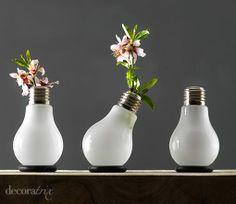 mini floreros con focos de luz