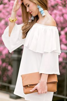 White Off The Shoulder Ruffle Dress By Lonestar Southern