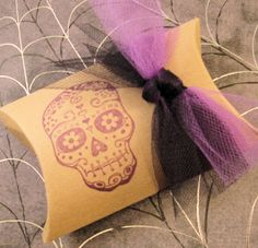 Set of 10 Halloween Treat Boxes  Skull  Tulle   by CottageCandies, $12.00