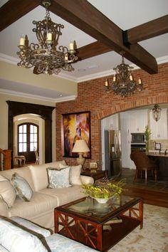Family room with interior brick wall