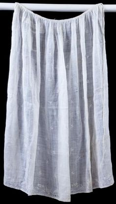 "front, 1780-1800, embroidered linen apron, 32"" long, 44"" wide"