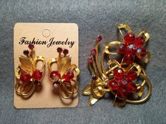 Huge Hobe Gold and Red Demi Brooch and Clip by KhatsVintageJewels