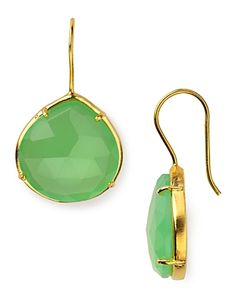 Coralia Leets 20mm Prong Green Chalcedony and Gold Drop Earrings