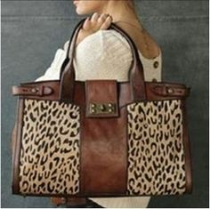 Fossil leather and leopard print bag