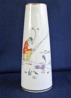 Mid Century Modern Winterling Marktleuthen Bavaria Fisherman Cat Cone Shape Vase