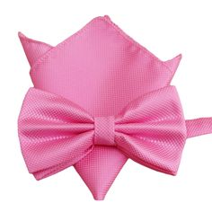 Startby Men's Solid Formal Banded Bow Tie and Pocket Square Set (Hot Pink) -- Awesome products selected by Anna Churchill