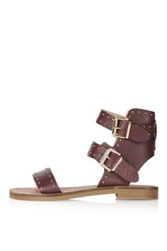 Add an edgy touch to your outfit with these strappy sandals. Were loving the stud detailing and wrap-around ankle strap finished with an adjustable buckle. Wrap Shoes, Ankle Wrap Sandals, Studded Sandals, Ankle Strap Shoes, Strappy Sandals, Leather Sandals, Shoes Sandals, Sandals Holidays, Topshop Shoes