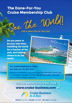Side 1 Be Your Own Boss, Yearning, Business Opportunities, Helping Others, Cruise, World, Travel, Viajes, Cruises