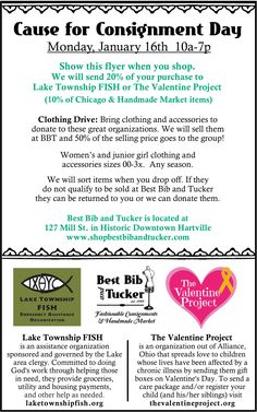 Clothing Drive & Shop January 16th to support Lake Township FISH and The Valentine Project