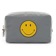 Anya Hindmarch Smiley Makeup Pouch ($370) ❤ liked on Polyvore featuring beauty products, beauty accessories, bags & cases, grey и anya hindmarch