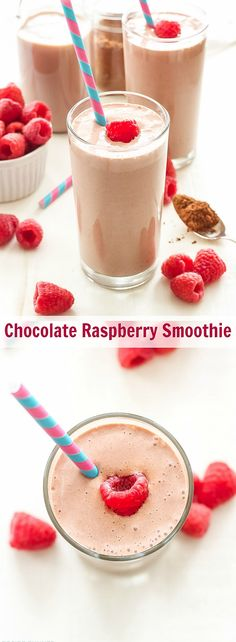 Chocolate Raspberry Smoothie   Chocolate milk, raspberries and Greek yogurt make this protein filled smoothie the perfect post workout recovery drink!