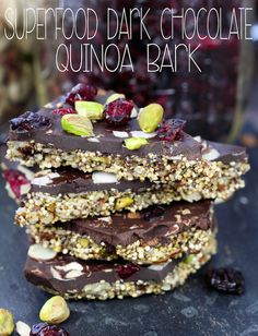 "It's simple 2 layer Superfood Dark Chocolate Quinoa Bark: crunchy toasted nuts and seeds held together with pure maple syrup on the bottom and decadent dark chocolate studded with cranberries, sliced almonds and pistachios on the top. Stop right there! Quinoa in chocolate? First of all, YES! Secondly, it's true. I""m going full on hippy on...Read More »"