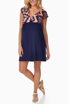 Peach-Navy-Tribal-Printed-Colorblock-Maternity/Nursing-Dress #maternity #fashion