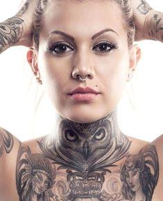 Chest Neck Tattoo, Owl Neck Tattoo, Full Neck Tattoos, Full Chest Tattoos, Neck Tattoos Women, Cross Tattoos For Women, Neck Tattoo For Guys, Chest Piece Tattoos, Dope Tattoos
