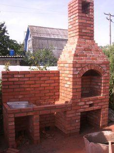 Барбекю и беседки из кирпича - [Строительство своего дома] Diy Planters Outdoor, Outdoor Kitchen Patio, Outdoor Oven, Outdoor Kitchen Design, Brick Built Bbq, Brick Grill, Parrilla Exterior, Barbecue Garden, Stone Bbq