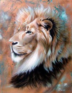 Lion of Judah - Lion Painting - Copper King - Lion Fine Art Print Beautiful Lion, Animals Beautiful, Cute Animals, Beautiful Artwork, Wild Animals, Big Cats Art, Cat Art, Animal Paintings, Animal Drawings