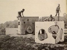 """""""Fantastic Village"""" consisted of 5 concrete and steel units / Creative Playthings catalog from Modern Playground, Playground Design, Outdoor Play Spaces, Street Art, Street Furniture, Built Environment, Public Art, Play Houses, Installation Art"""