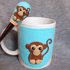 Majom, Monkey, Polymer Clay , Süthető gyurma, Handmade, Bögre, Mug