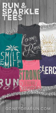 Our super soft cotton blend shirts are a sparkly, fun, fashionable way to show off your love for running. Each lightweight, heathered shirt features a slim, woman's cut, and cap sleeves. Show off your passion for running in style!