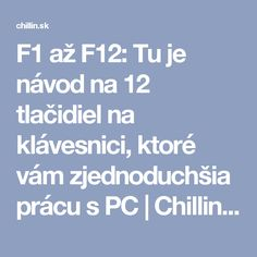 F1 až F12: Tu je návod na 12 tlačidiel na klávesnici, ktoré vám zjednoduchšia prácu s PC | Chillin.sk Microsoft Excel, Internet, Education, School, Windows 10, Technology, Educational Illustrations, Learning, Studying