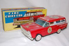Tin Friction Ford Fire Chief Car, Friction  w/ BOX SN Japan #SN
