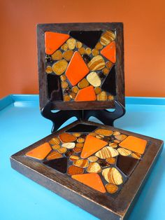 VTG 1960s MID Century Modern Orange Stone Mosaic Wood Tile Trivets Rossini Japan Stone Mosaic, Mosaic Art, Orange Stone, Mid-century Modern, 1960s, Mid Century, Japan, Wood, Tile