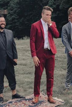 a bold red suit, a white shirt, a white tie and brown shoes for a bright fall lo. - a bold red suit, a white shirt, a white tie and brown shoes for a bright fall look that stands out - Navy And Maroon Suit, Maroon Tuxedo, Red Tuxedo, Burgundy Suit, Maroon Wedding, Red Wedding Dresses, Tuxedo Wedding, Wedding Suits, Mens Red Suit