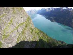 Amazing wingsuit base jump, Norway.