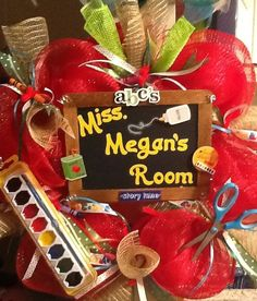 Personalized Teachers Apple Deco Mesh Wreath via Etsy