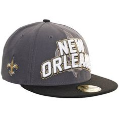 New Era New Orleans Saints NFL Draft Fitted Hat - Charcoal Black e844535bc0