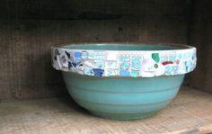antique stoneware mixing bowl and broken china mosaic found at rushcreekmosaics on Etsy.