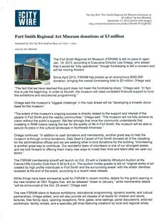 Fort Smith Regional Art Museum donations at three million. -The City Wire, 9/17/2012