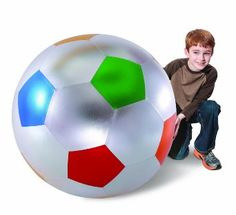 "40"" Y'all Ball- Shiny Fabric, Silver with Dark Blue, Red, Green, Orange and Gold Pentagons"