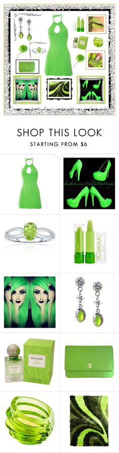 """""""Dressed in Neon for  A Clubbing Night Out"""" by mcronald-denise ❤ liked on Polyvore featuring Belk & Co., Pierre Balmain, Chanel, Orrefors, DonnieAnn and Hattie Carnegie"""