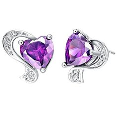delatcha Crystal Stud Earrings Red Purple Simulated Gemstone Heart Shaped 925 Silver Earings Women Accessories Love Gifts Ulove R166 ** Find out more about the great product at the image link. Note:It is Affiliate Link to Amazon.