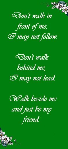 Don't walk in front of me, I may not follow.  don't walk behind me, I may not lead.  Walk beside me and just be my friend.  Old Proverb - some say Irish, some say French ~  Etsy Treasury: Irish Friends