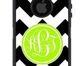 OTTERBOX DEFENDER iPhone 5 4/4s Case Custom Black CHEVRON stripes lime green initial circle - Monogram Personalized