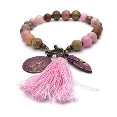 beaded charm bracelet, tassel bracelet, layering bracelet, bohemian bracelet, festival jewelry, gemstone bracelet pink, boho bracelet by VonFrida on Etsy https://www.etsy.com/uk/listing/512241081/beaded-charm-bracelet-tassel-bracelet