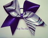 Silver Foil with Black Flocking over white and Purple Tic Toc Large Cheer Bow Purple Center