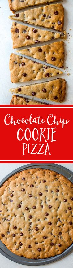 That easy recipe for classic chocolate chip cookie pizza! Makes a giant cookie pizza perfect for sharing Chocolate Chip Cookie Pizza, Chocolate Chip Recipes, Homemade Chocolate, Chocolate Chocolate, Easy Desserts, Delicious Desserts, Dessert Recipes, Dessert Pizza, Dessert Bars