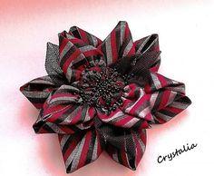 crystalia / Burgundy Passion Flower ... handmade fabric brooch