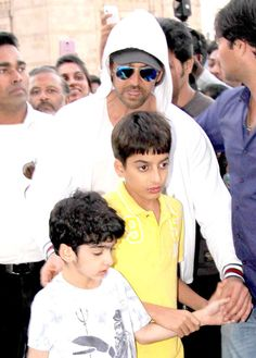 Hrithik Roshan with nephew Azaan and son Hrehaan. #Style #Bollywood #Fashion #Handsome