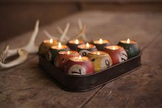 Upcycled billiard balls novelty candle holders