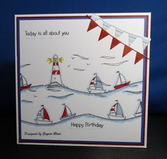 Little Claire's Designs: LC Designs Monthly Blog Challenge # 65 - 'Just Add Bunting' Birthday Cards For Men, Man Birthday, Dandelion Clock, Penny Black Stamps, Beach Cards, Masculine Cards, Diy Cards, Cardmaking, Challenges